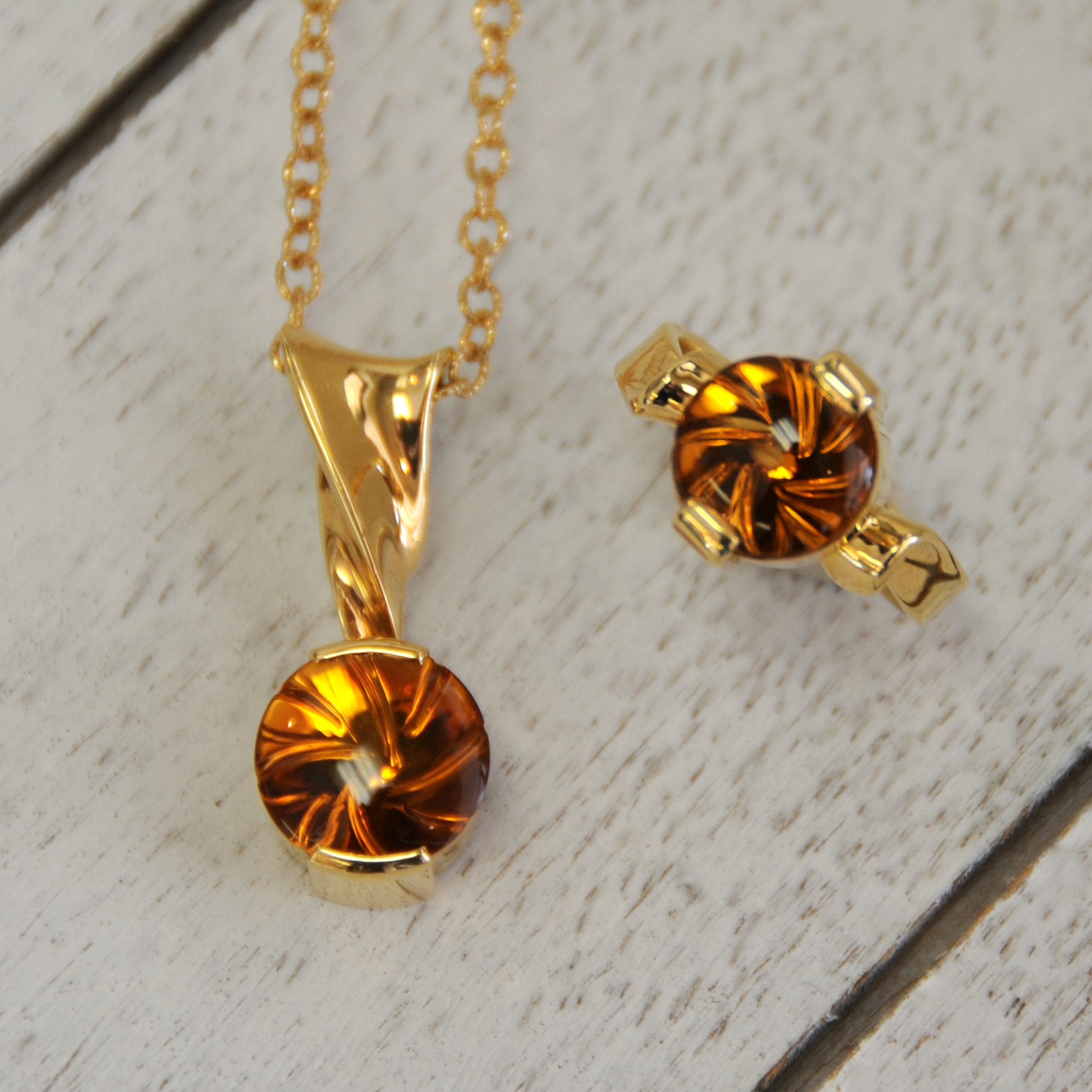 Spiral Cut TM Citrine by Larry Woods  Pendant and Ring Mountings Designed by Stacia Woods