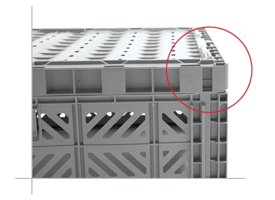 The boxes are perfectly intertwined when they are on top of the other through their patented design.