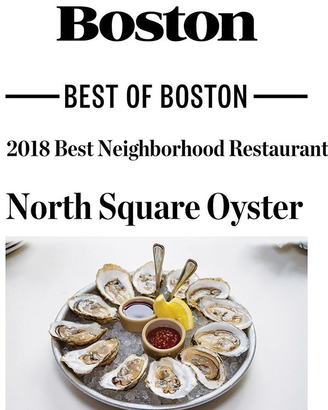 We're honored to be named Best Neighborhood Restaurant North End by @bostonmagazine! Proud of our crew for all of their effort in making this happen 🙌🏼