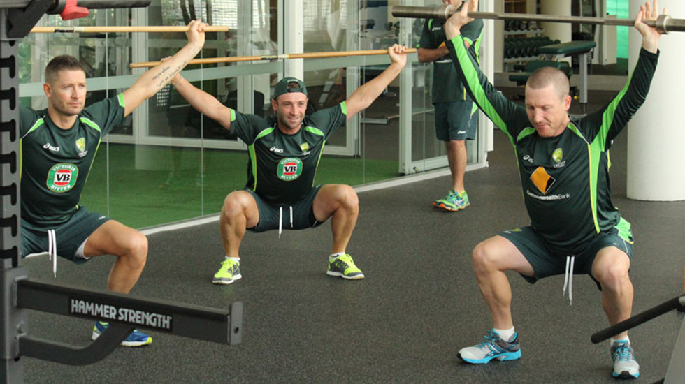 Michael Clarke, Brad Haddin and Phillip Hughes in action doing the snatch