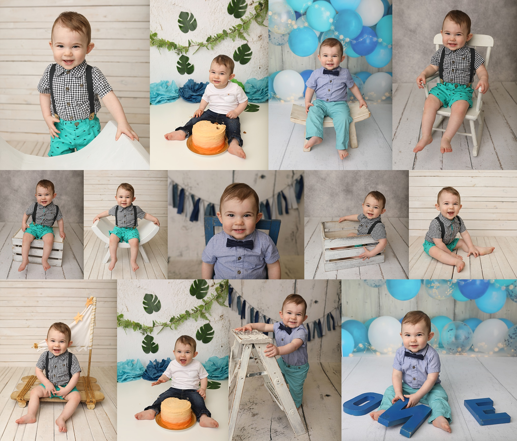 First birthday cake smash infant photo session