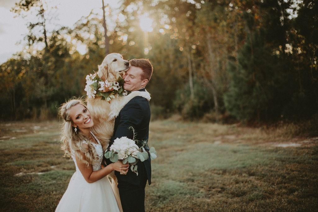 Bride & groom with dog photo