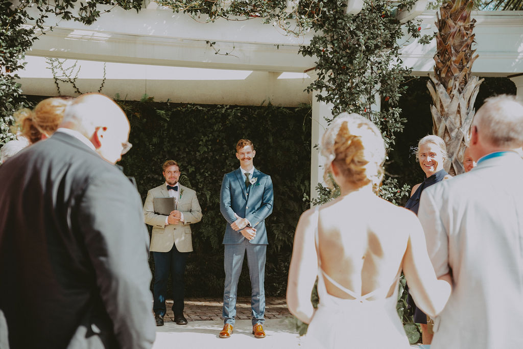Groom sees bride at Cannon Green Wedding Venue in Charleston, SC