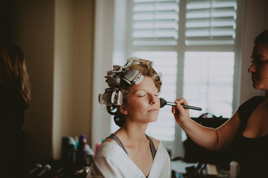 Bride getting ready at Cannon Green Wedding Venue