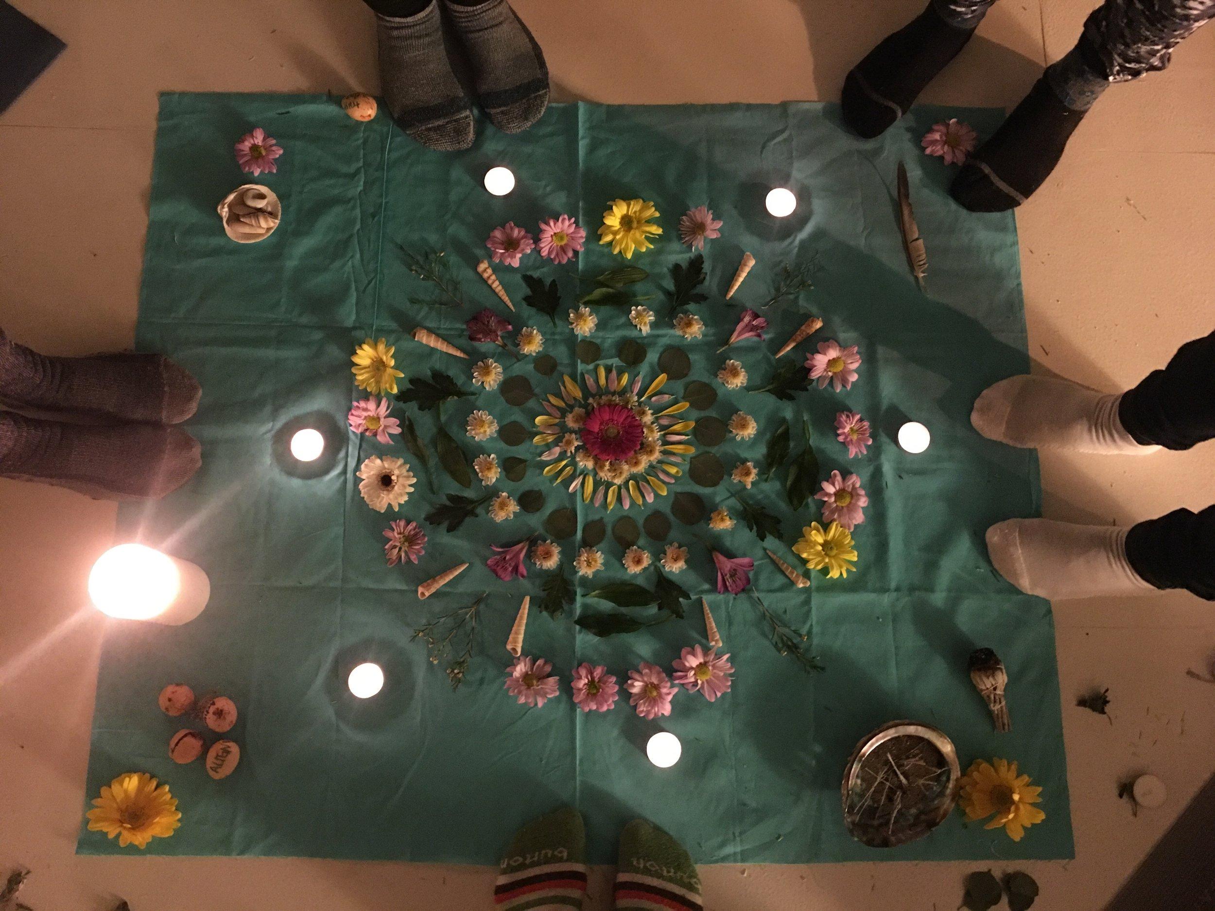 '17 January Aquarius New Moon Circle Flower Mandala