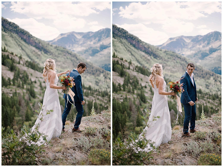 bride and groom first look, first look in maroon bells wilderness wedding, adventurous colorado wedding photographer, adventure wedding, marble colorado wedding