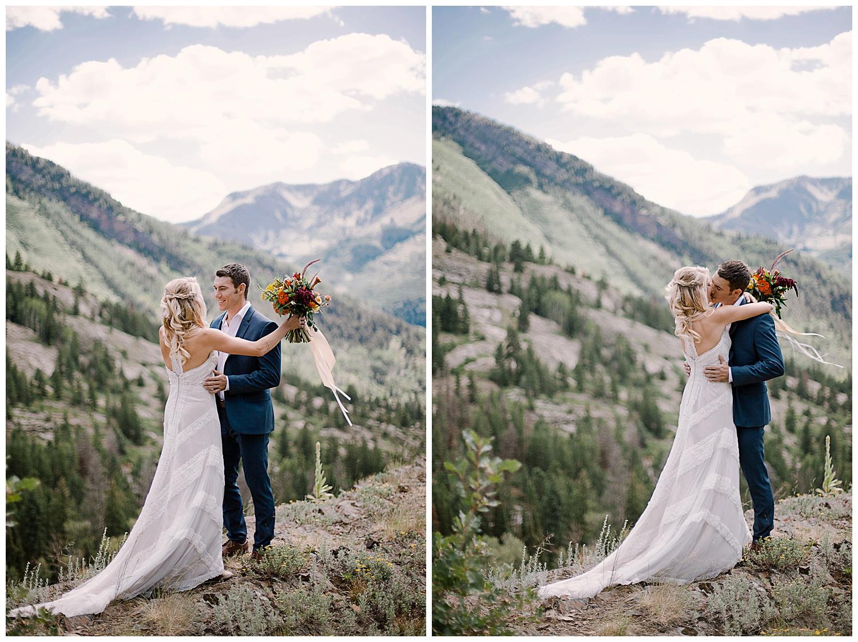 bride and groom first look, adventurous first look, maroon bells wilderness wedding, marble colorado wedding, adventurous colorado wedding photographer, intimate colorado wedding photographer