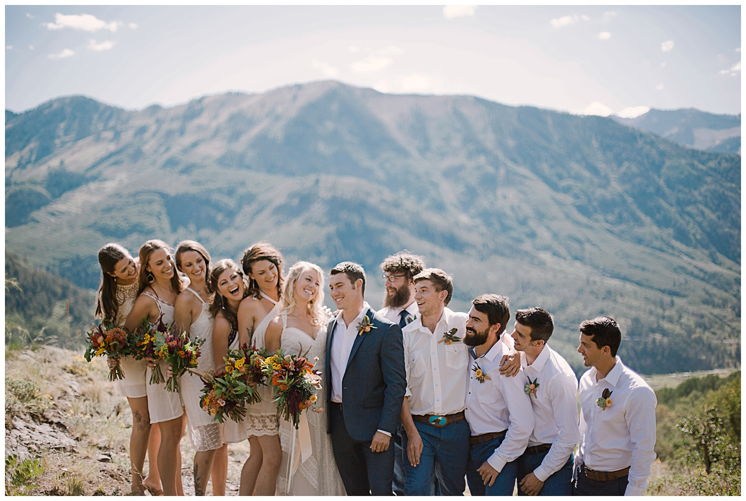 bridal party in the mountains, marble colorado wedding, maroon bells wilderness wedding, adventurous colorado wedding photographer, adventure wedding, marble lodge wedding