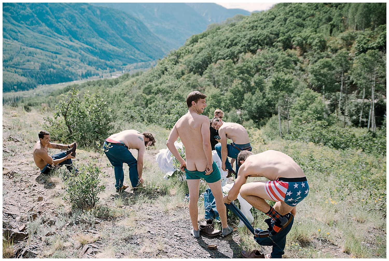 groom and groomsmen get naked, naked in nature, marble colorado wedding, adventurous colorado wedding photographer, adventure wedding