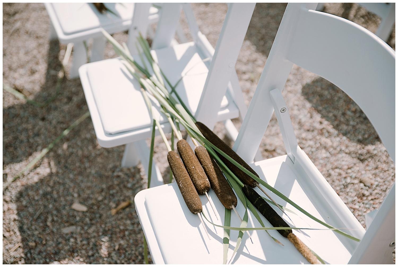 cat tails on reserved seats, wedding details, adventurous colorado wedding photographer, adventure wedding, marble colorado wedding, marble lodge wedding