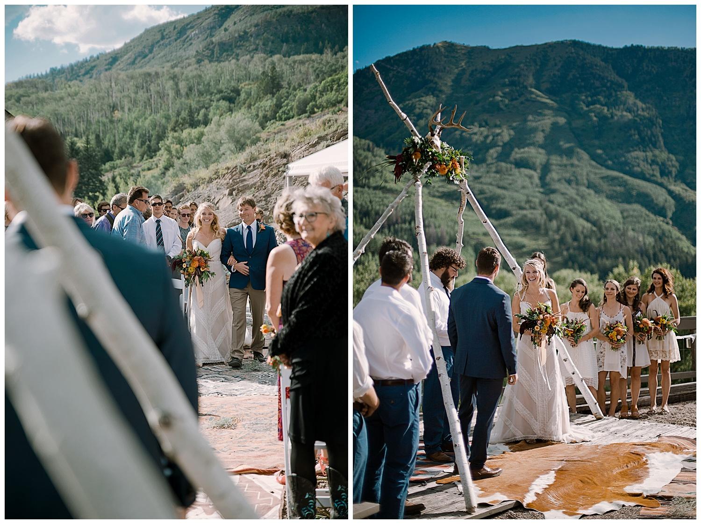 bride walking down the aisle, outdoor colorado wedding ceremony, adventurous colorado wedding photographer, marble colorado wedding, marble lodge wedding, adventure wedding