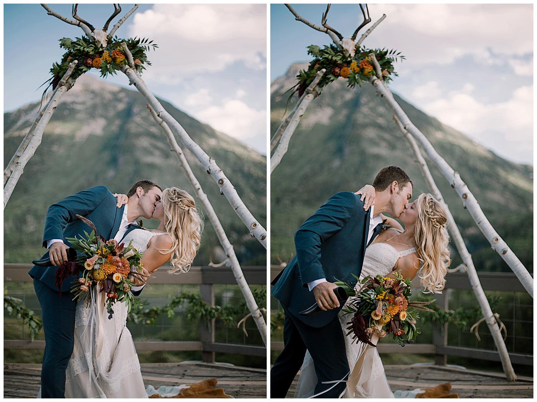 bride and groom kissing, groom dipping bride, outdoor colorado wedding, adventurous colorado wedding photographer, marble lodge wedding, marble colorado wedding