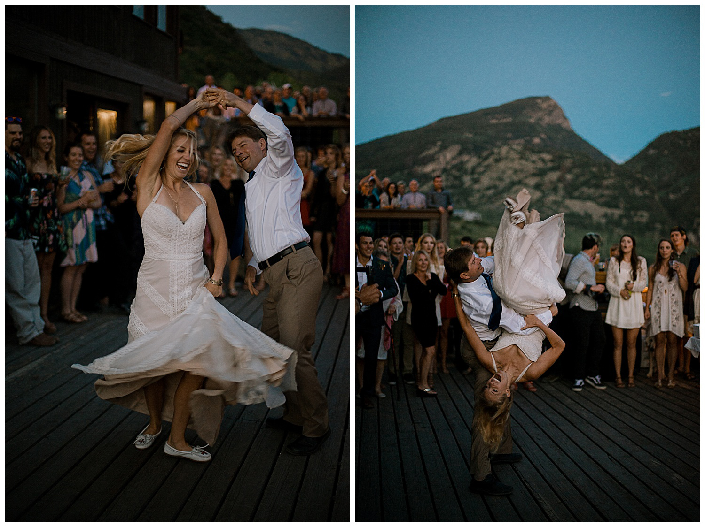 epic father daughter dance, outdoor colorado wedding, marble colorado wedding, marble lodge wedding, adventurous colorado wedding photographer