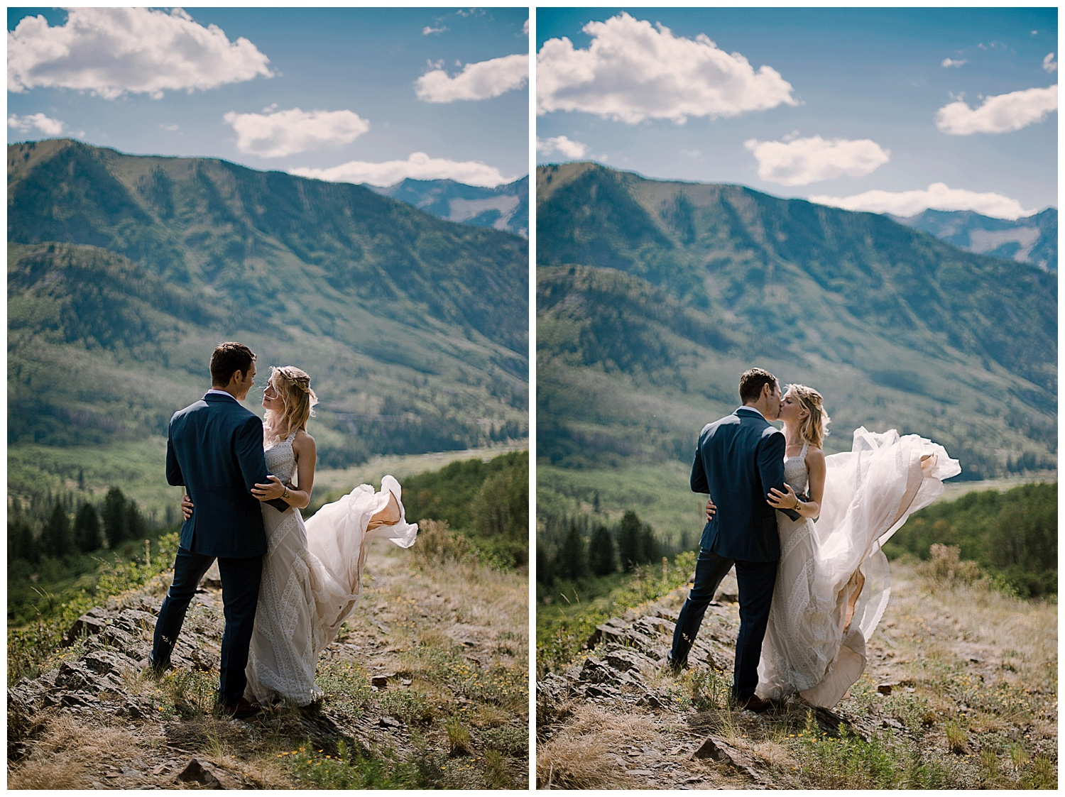 bride and groom hiking in the mountains, marble colorado wedding, maroon bells wilderness wedding, adventurous colorado wedding photographer, adventure wedding, marble lodge wedding