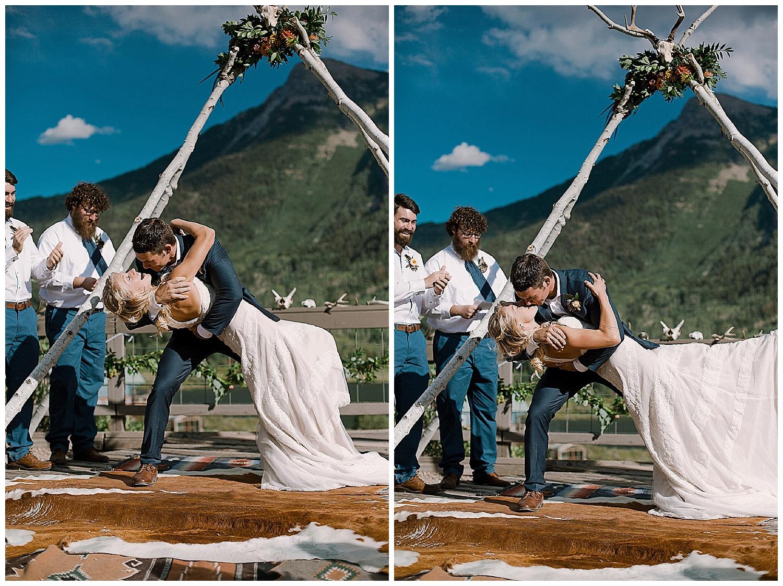 bride and groom kiss, the kiss, marble colorado wedding, maroon bells wilderness wedding, marble lodge wedding, outdoor colorado wedding ceremony, adventurous colorado wedding photographer