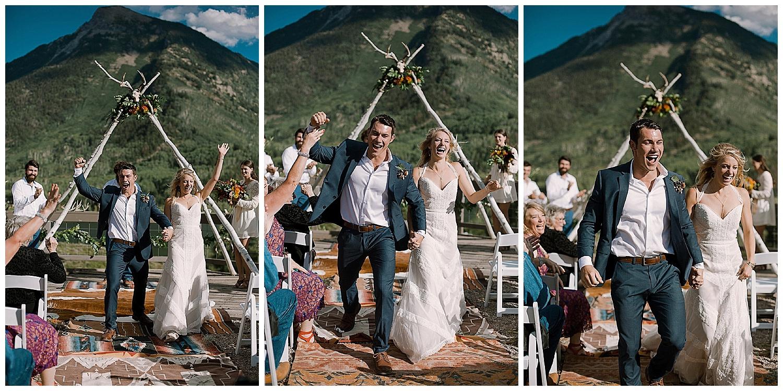 groom fist pump, marble colorado wedding, marble lodge wedding, maroon bells wilderness wedding, outdoor colorado wedding ceremony, adventurous colorado wedding photographer
