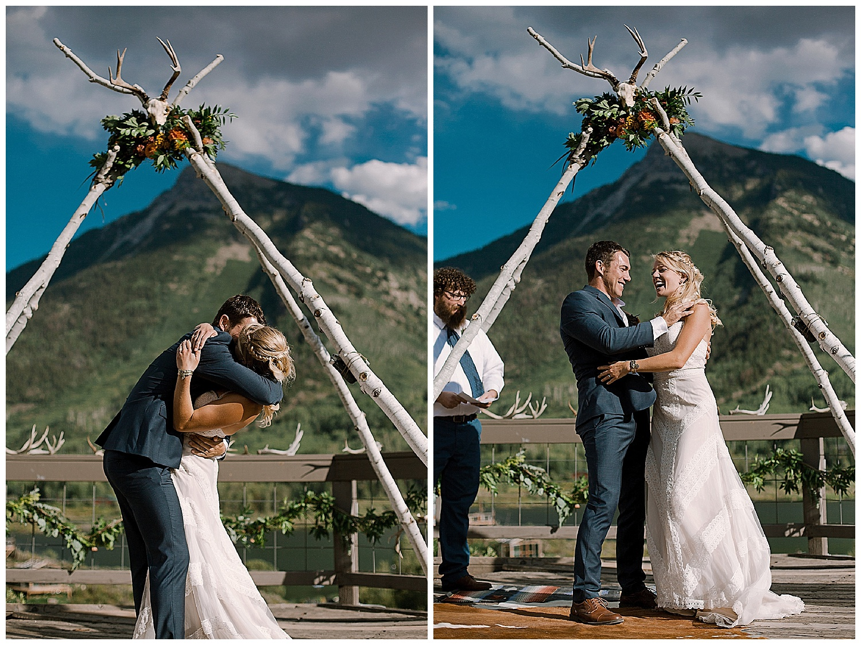 bride and groom kiss, the kiss, outdoor colorado wedding ceremony, marble colorado wedding, marble lodge wedding, maroon bells wilderness wedding, adventurous colorado wedding photographer