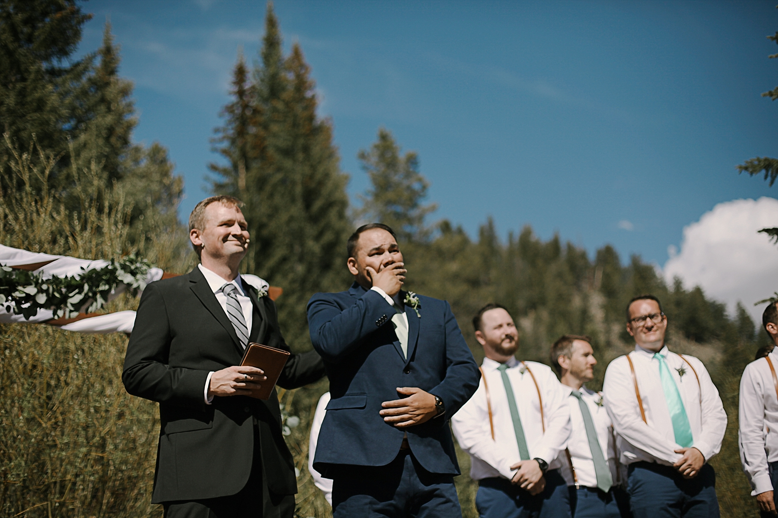groom crying, groom cries seeing his bride, breckenridge colorado wedding, breckenridge colorado wedding photographer, the church at agape outpost wedding, agape outpost wedding photographer