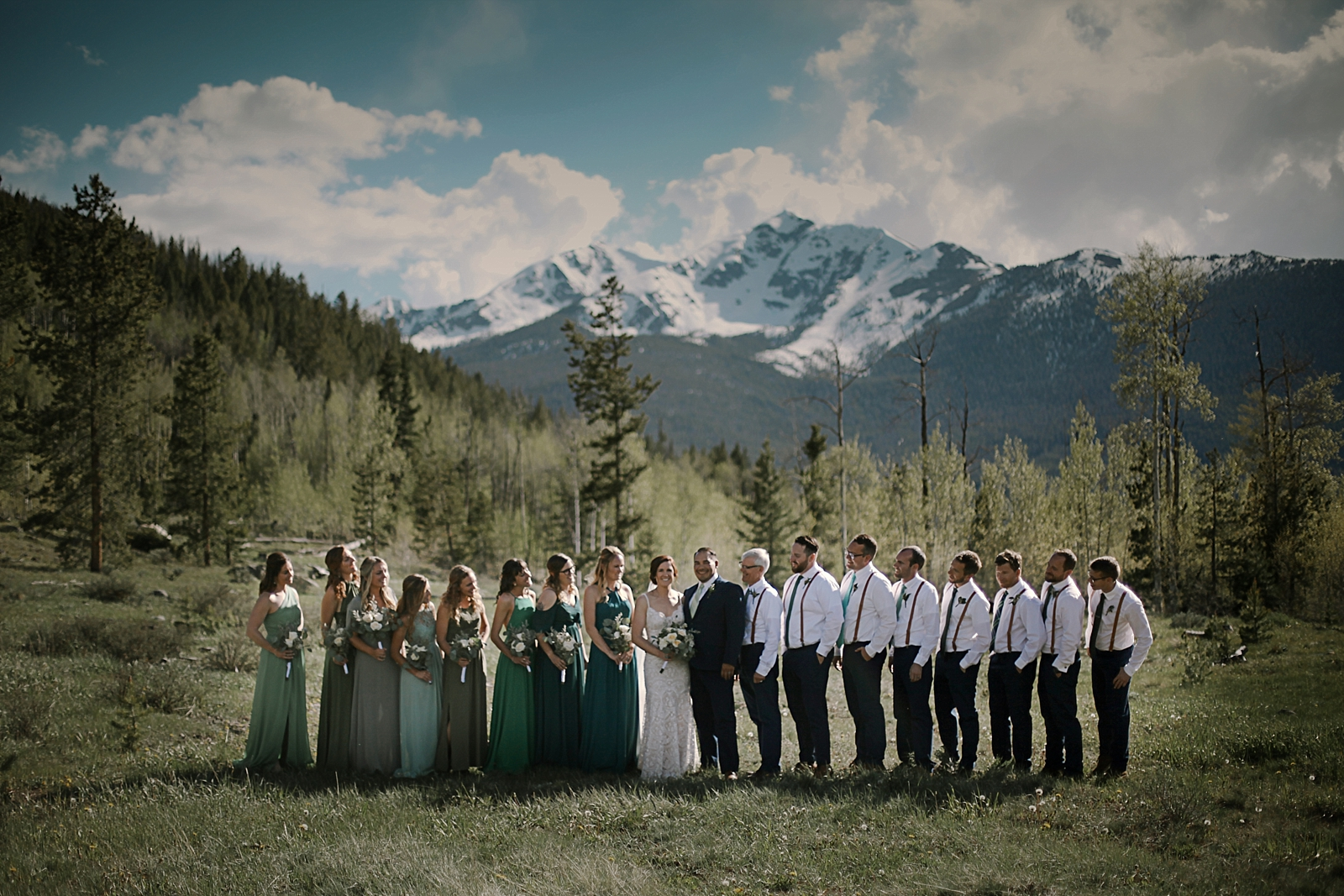 bridal party at agape outpost, breckenridge colorado wedding, breckenridge colorado wedding photographer, the church at agape outpost wedding, agape outpost wedding photographer