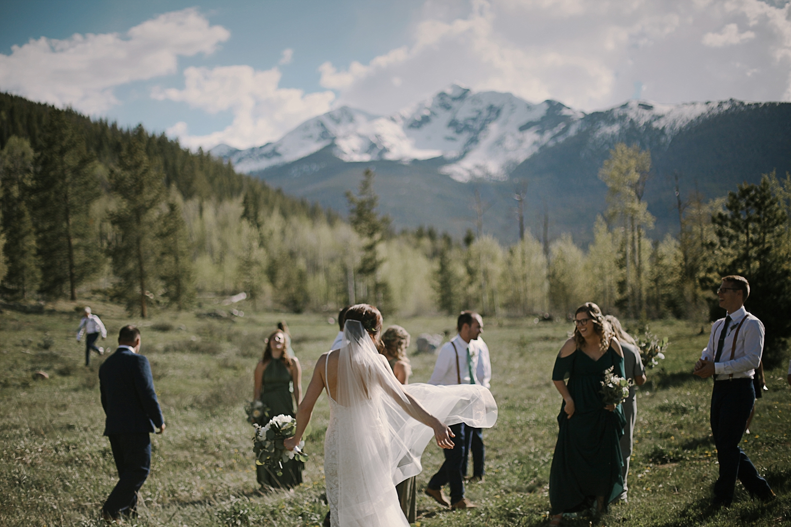 bridal party at agape outpost, the church at agape outpost wedding, breckenridge colorado wedding, breckenridge colorado wedding photographer, agape outpost wedding photographer
