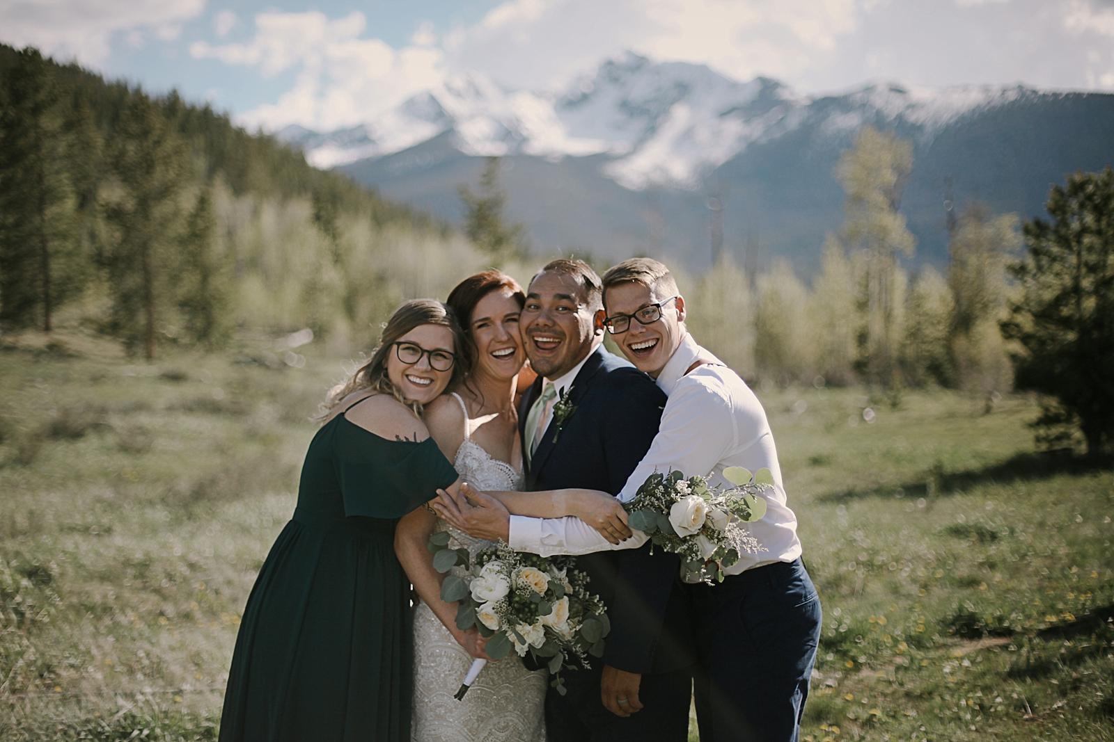 bridal party at agape outpost, the church at agape outpost, breckenridge colorado wedding, breckenridge colorado wedding photographer, agape outpost wedding photographer