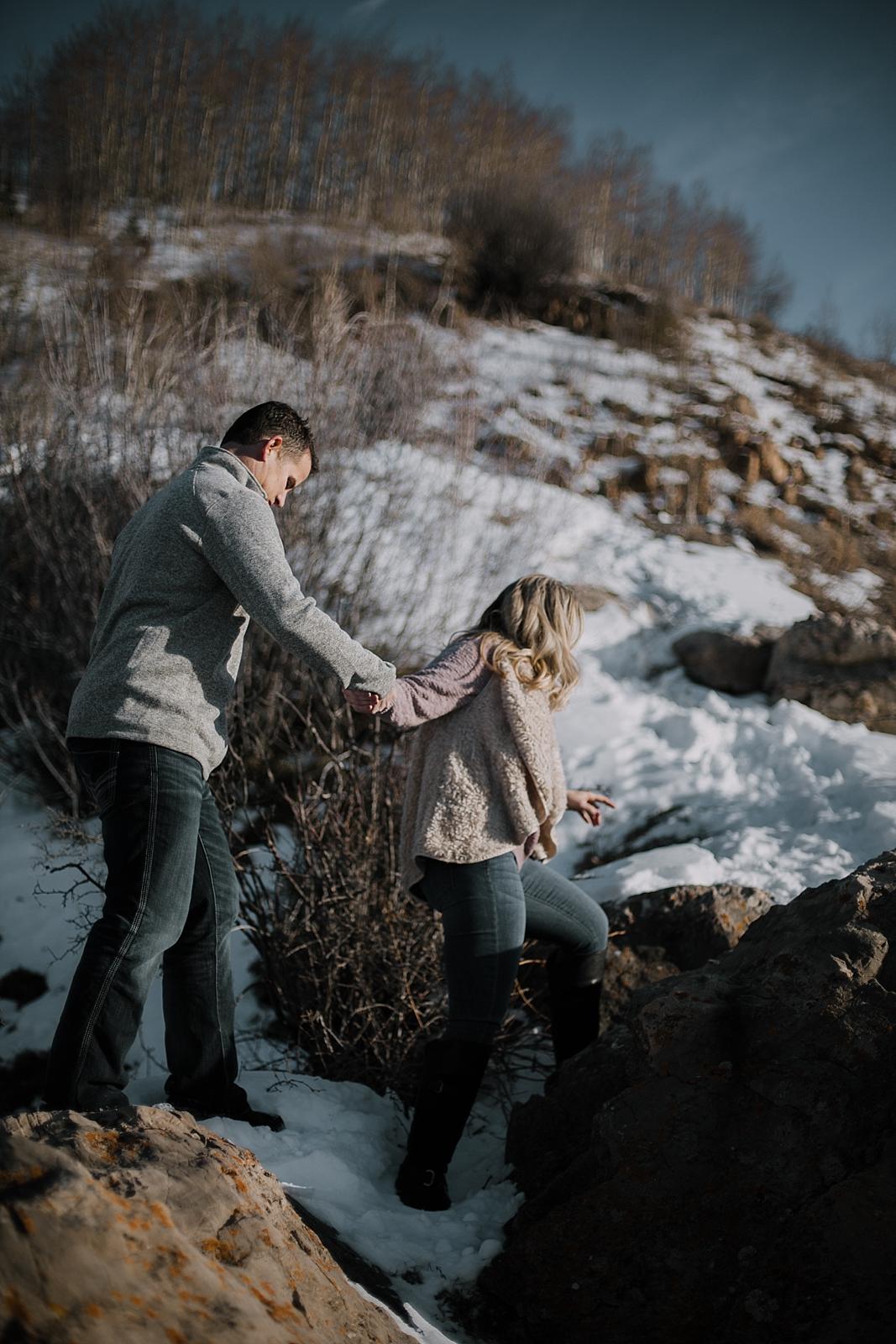 couple hiking, hiking engagements, adventurous colorado engagements, colorado wedding photographer, red cliff wedding photographer, leadville wedding photographer