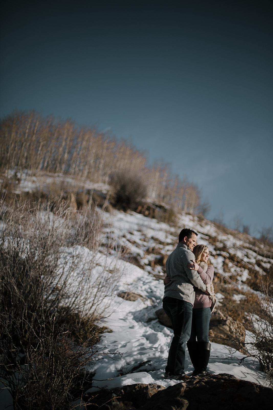 couple hiking, hiking engagements, adventurous colorado engagements, adventurous colorado wedding photographer, red cliff wedding photographer, leadville wedding photographer