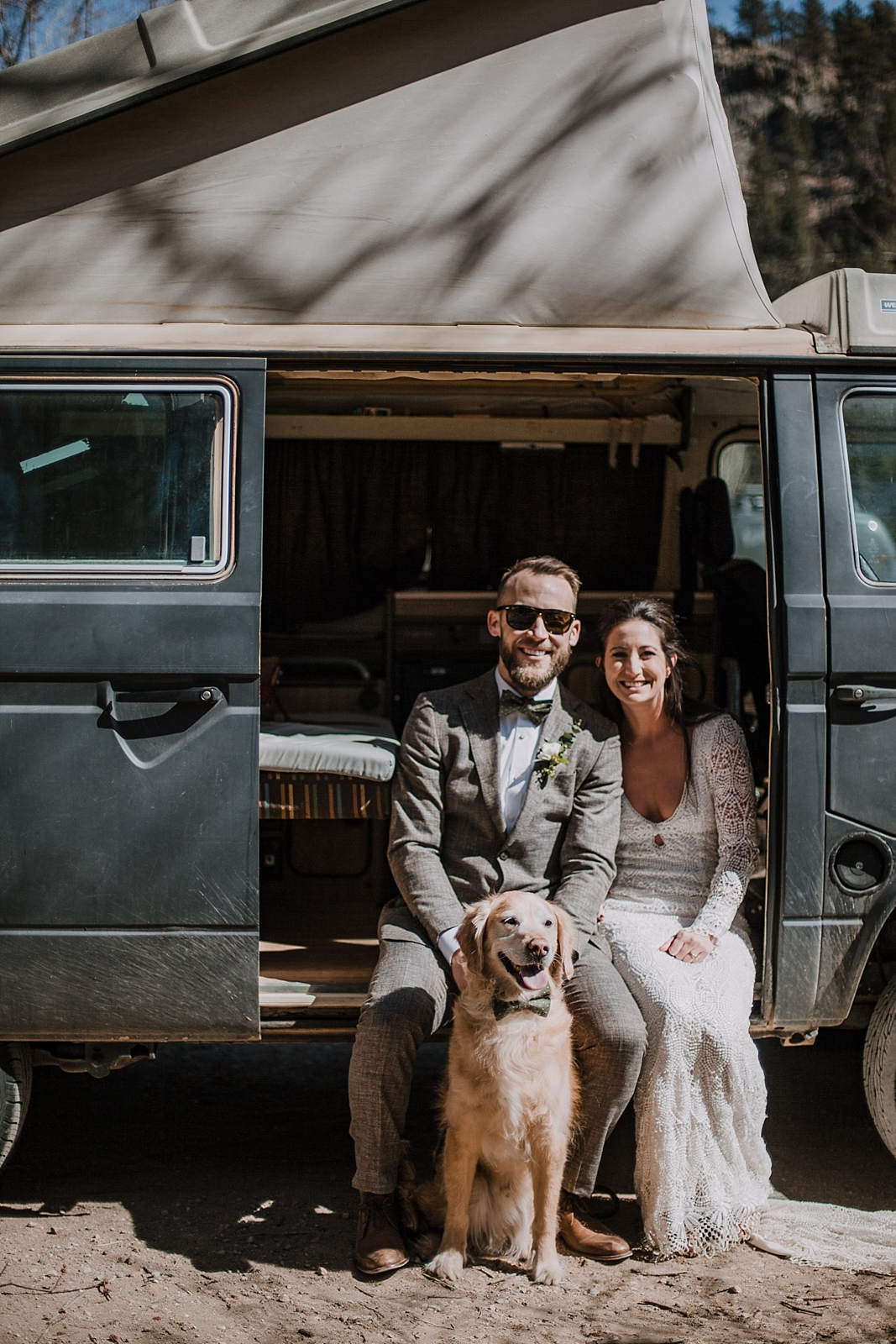 bride and groom with dog, self solemnizing elopement, gateway natural area elopement, seaman reservoir elopement, fort collins colorado elopement, colorado elopement, westfalia van elopement