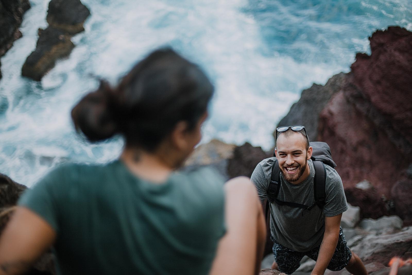 climbing in maui, maui cliffside, hawaiian cliffside, maui elopement photographer, maui wedding photographer, maui adventure, maui hiking, maui hawaii hiking, maui tide pool, alexis russell ring