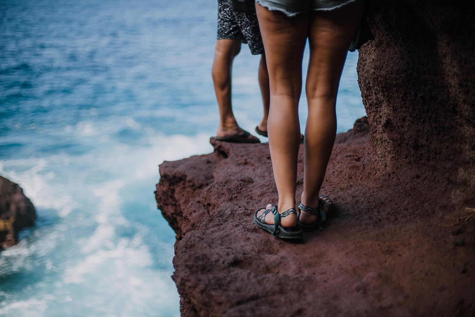 climbing in maui, maui cliffside, maui climbing, maui elopement photographer, maui wedding photographer, couple on cliffside, maui hiking, maui hawaii hiking, maui tide pool, alexis russell ring