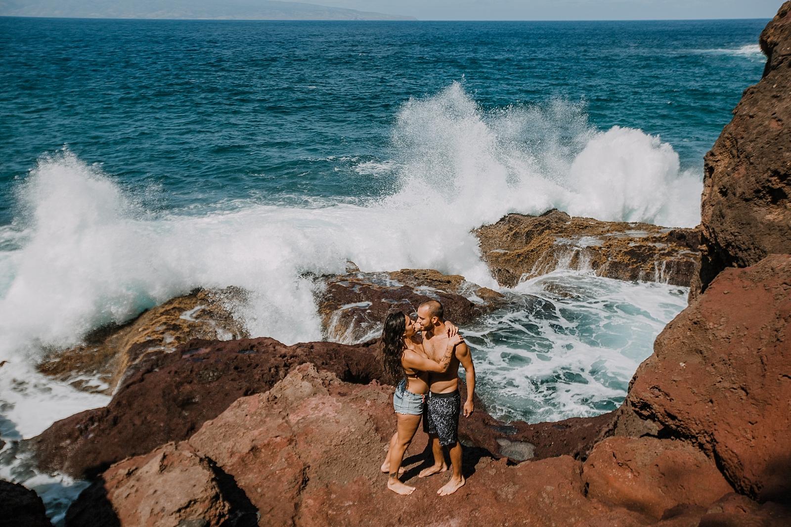 maui engagements, maui diving, maui cliffside, maui elopement photographer, maui wedding photographer, swimming engagements, maui hiking, maui hawaii hiking, lahaina beaches, swimsuit engagement