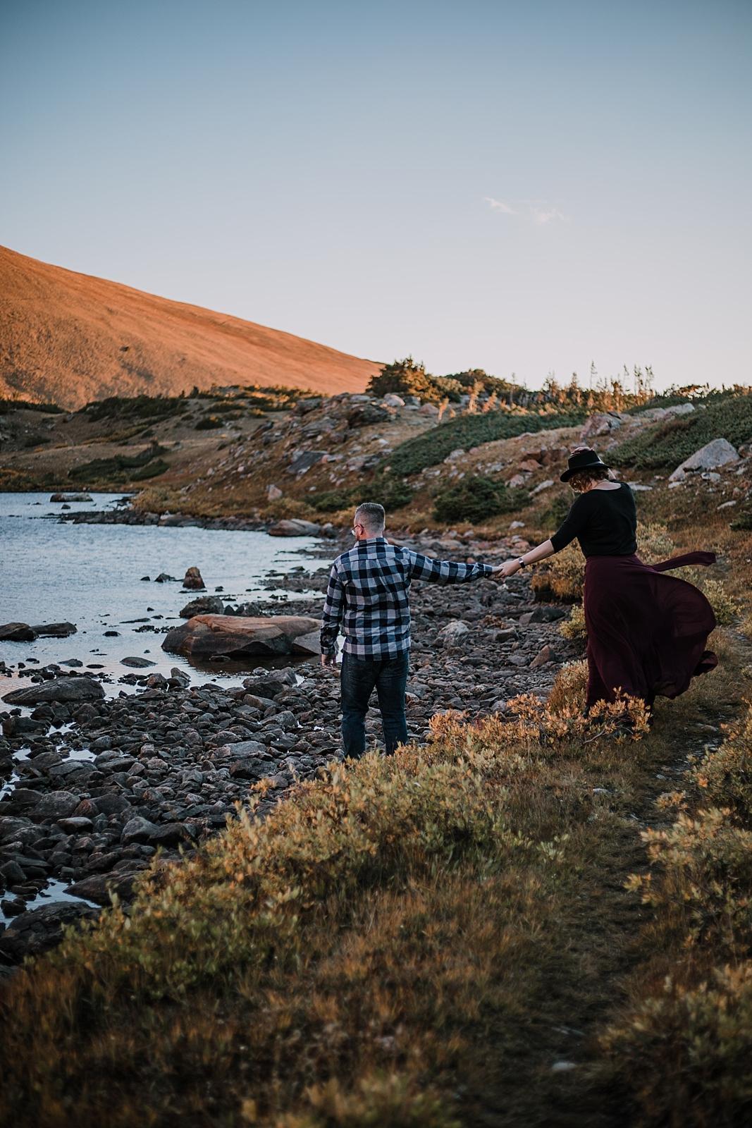 sunrise at james peak, colorado 13er, little echo lake, backpacking james peak wilderness, hike james peak lake, hike little echo lake, james peak elopement, winter park sunrise elopement