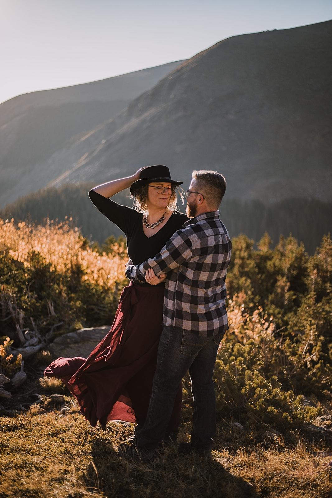 sunrise at james peak, colorado 13er, hike little echo lake, backpacking james peak wilderness, hike james peak lake, james peak elopement, winter park elopement, backpacking winter park