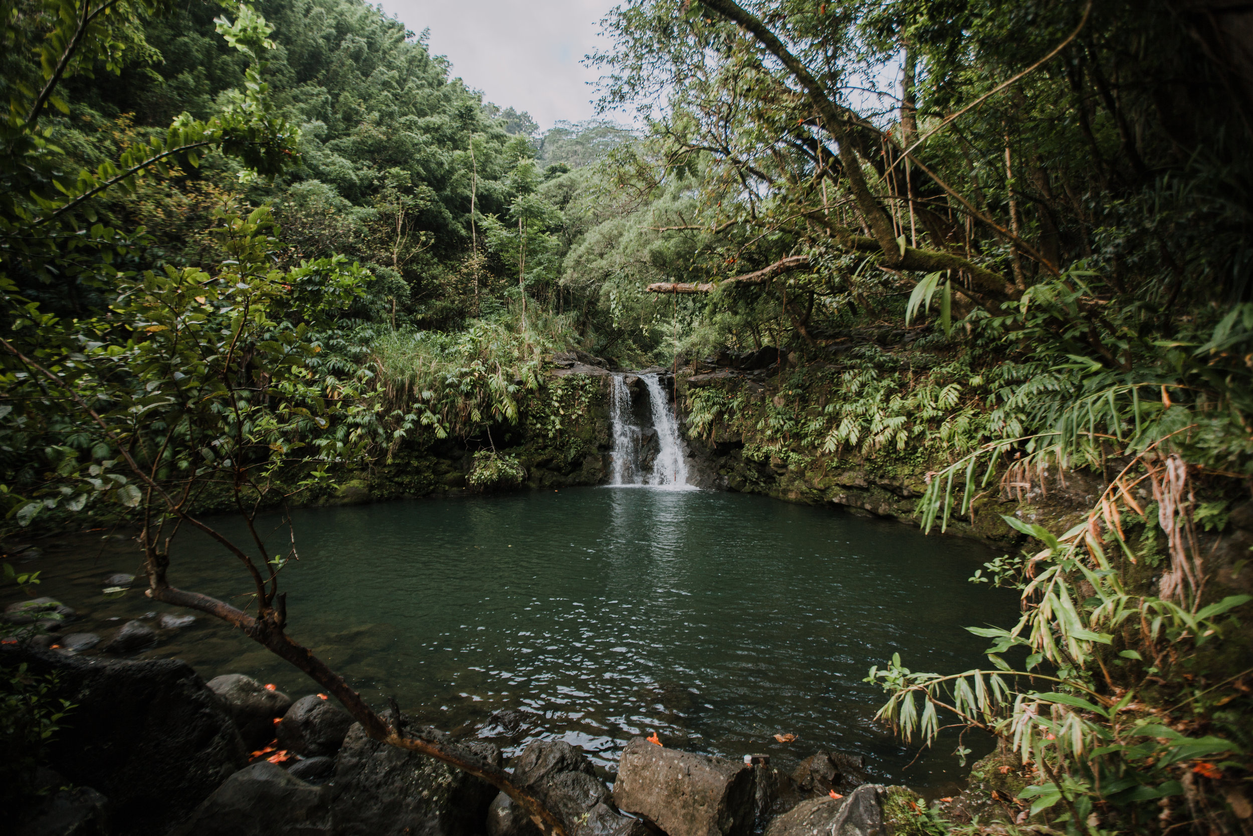 hawaii waterfall, road to hana, maui waterfall, hawaii wedding photographer, hawaii elopement photographer, maui wedding, maui engagements, maui elopement