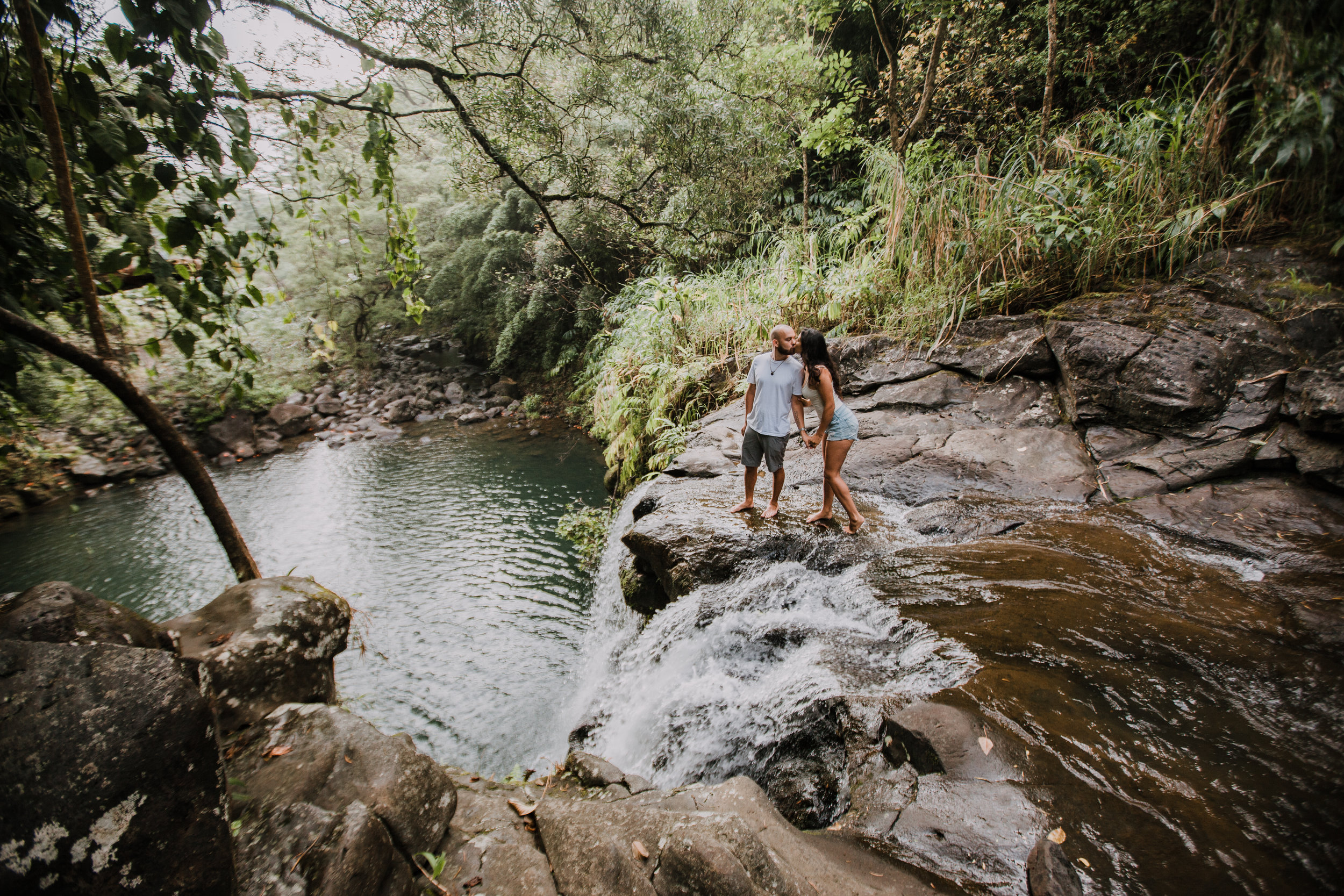 island couple, hawaii waterfall, road to hana, maui waterfall, hawaii wedding photographer, hawaii elopement photographer, maui wedding, maui engagements, maui elopement, maui jungle
