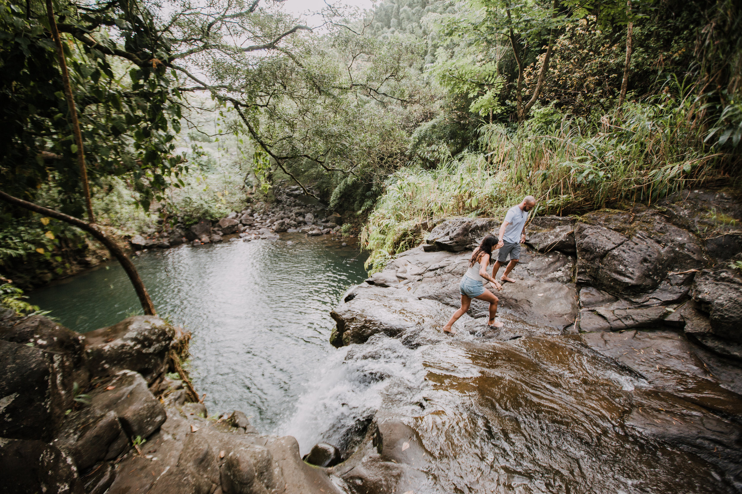 island hiking, hawaii waterfall, road to hana, maui waterfall, hawaii wedding photographer, hawaii elopement photographer, maui wedding, maui engagements, maui elopement, maui jungle