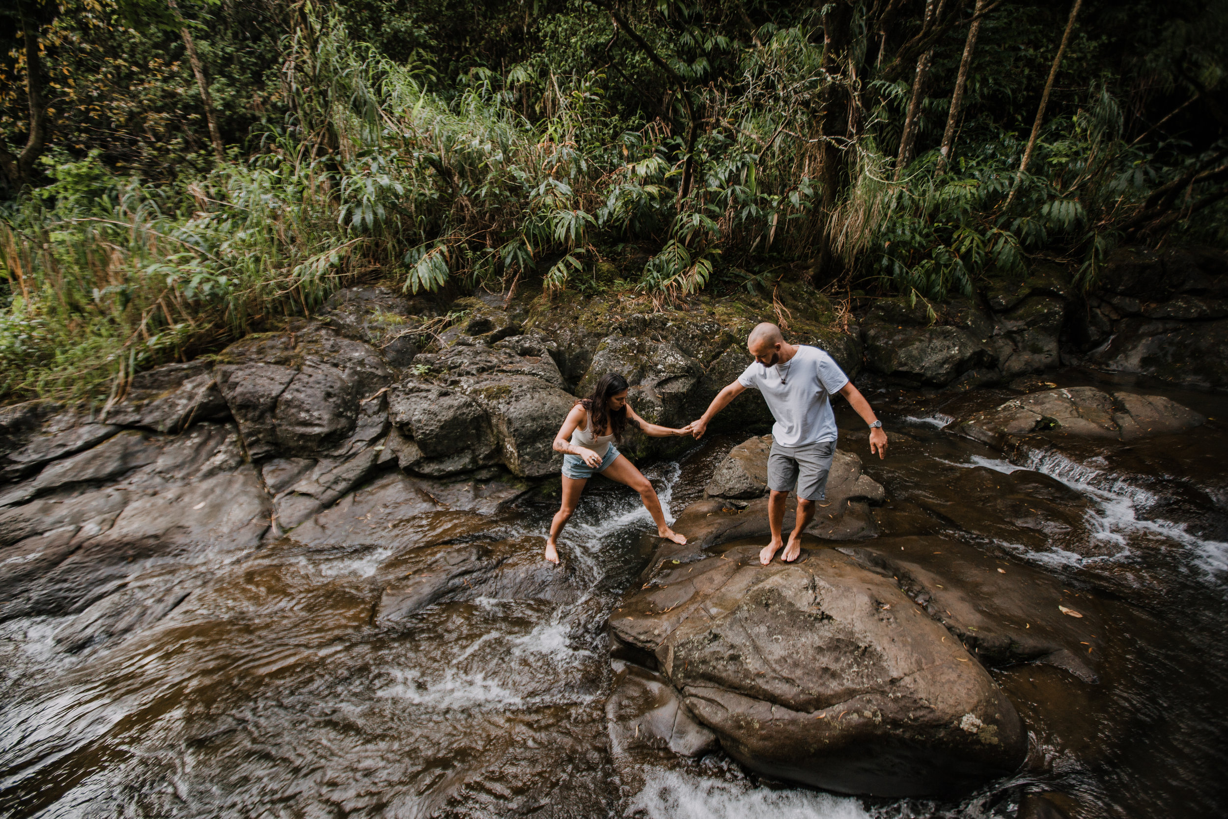 island couple hiking, hawaii waterfall, road to hana, maui waterfall, hawaii wedding photographer, hawaii elopement photographer, maui wedding, maui engagements, maui elopement, maui jungle