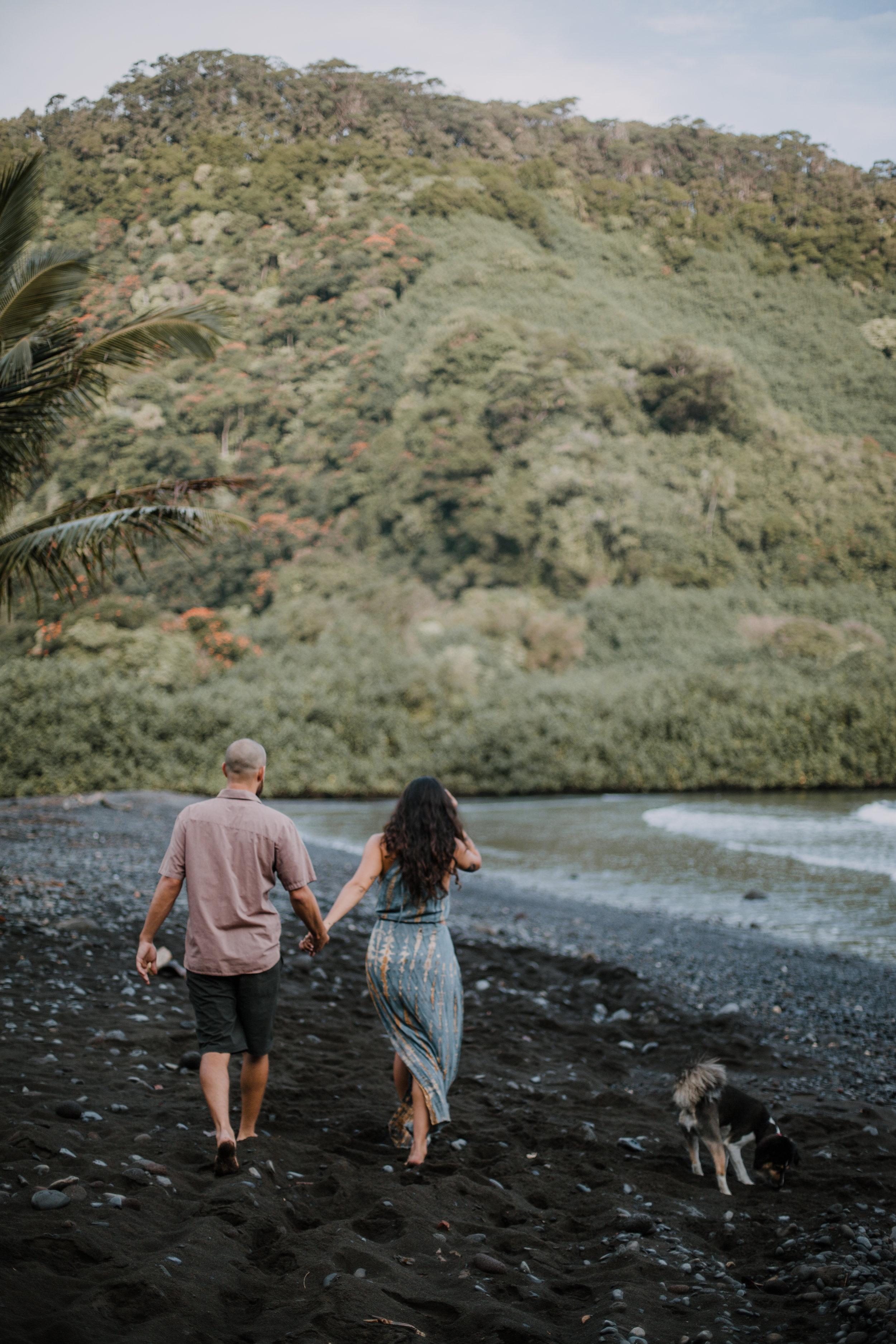 maui black beach engagement, island hiking, hawaii waterfall, road to hana, maui waterfall, hawaii wedding photographer, hawaii elopement photographer, maui wedding, maui engagements, maui elopement