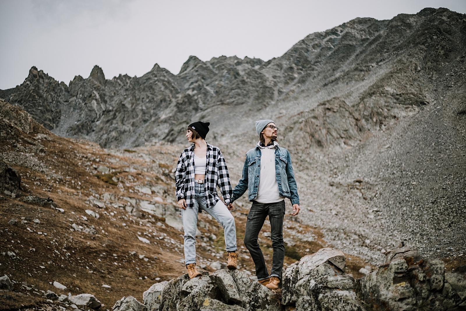 couple on mountain, colorado surprise proposal, hike mayflower gulch, mayflower gulch proposal, mayflower gulch elopement, mayflower gulch wedding, colorado mountainscape, leadville elopement