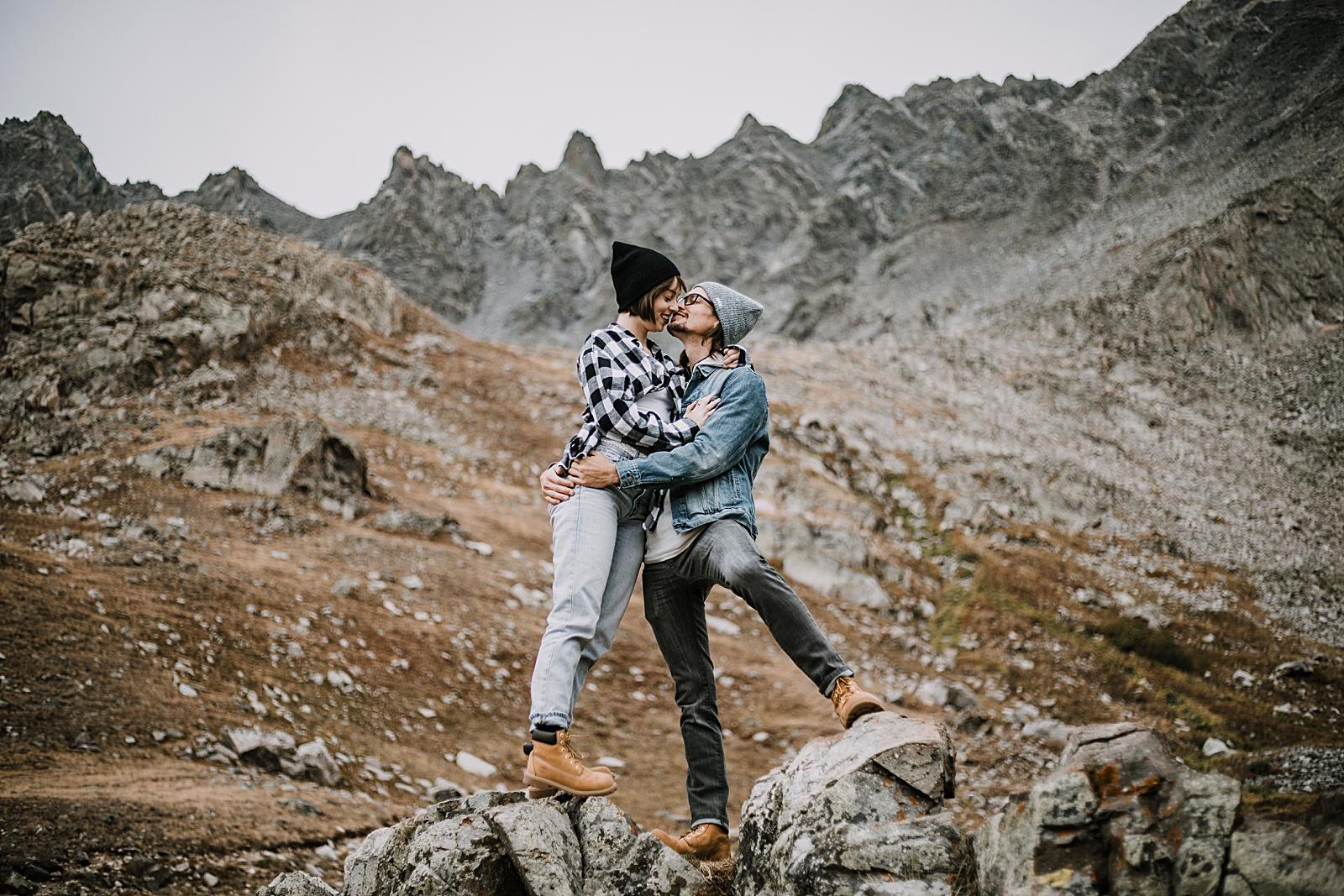 couple hiking mountain, colorado surprise proposal, hike mayflower gulch, mayflower gulch proposal, mayflower gulch elopement, mayflower gulch wedding, colorado mountainscape, leadville elopement