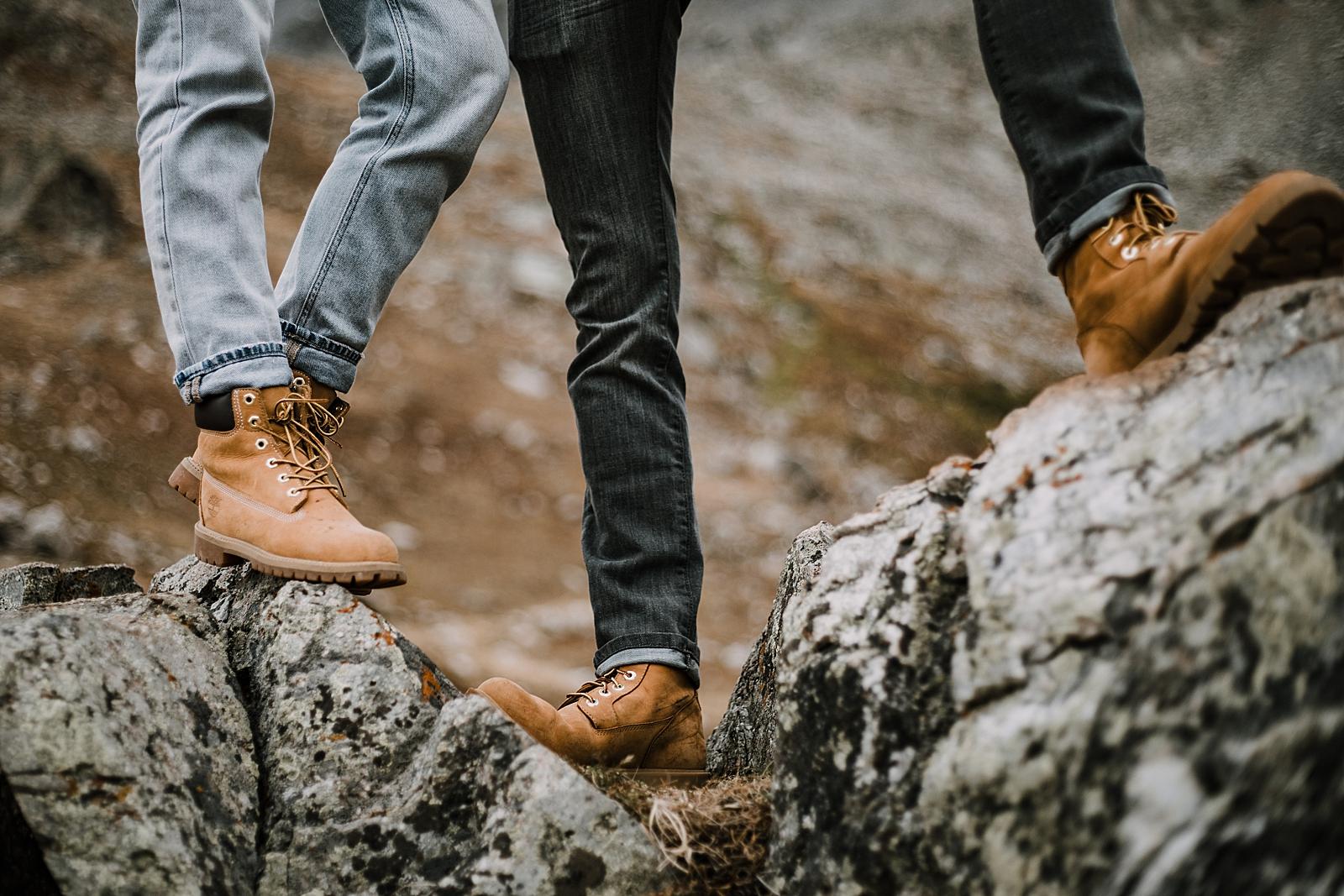timberland boots, colorado surprise proposal, hike mayflower gulch, mayflower gulch proposal, mayflower gulch elopement, mayflower gulch wedding, colorado mountainscape, leadville elopement