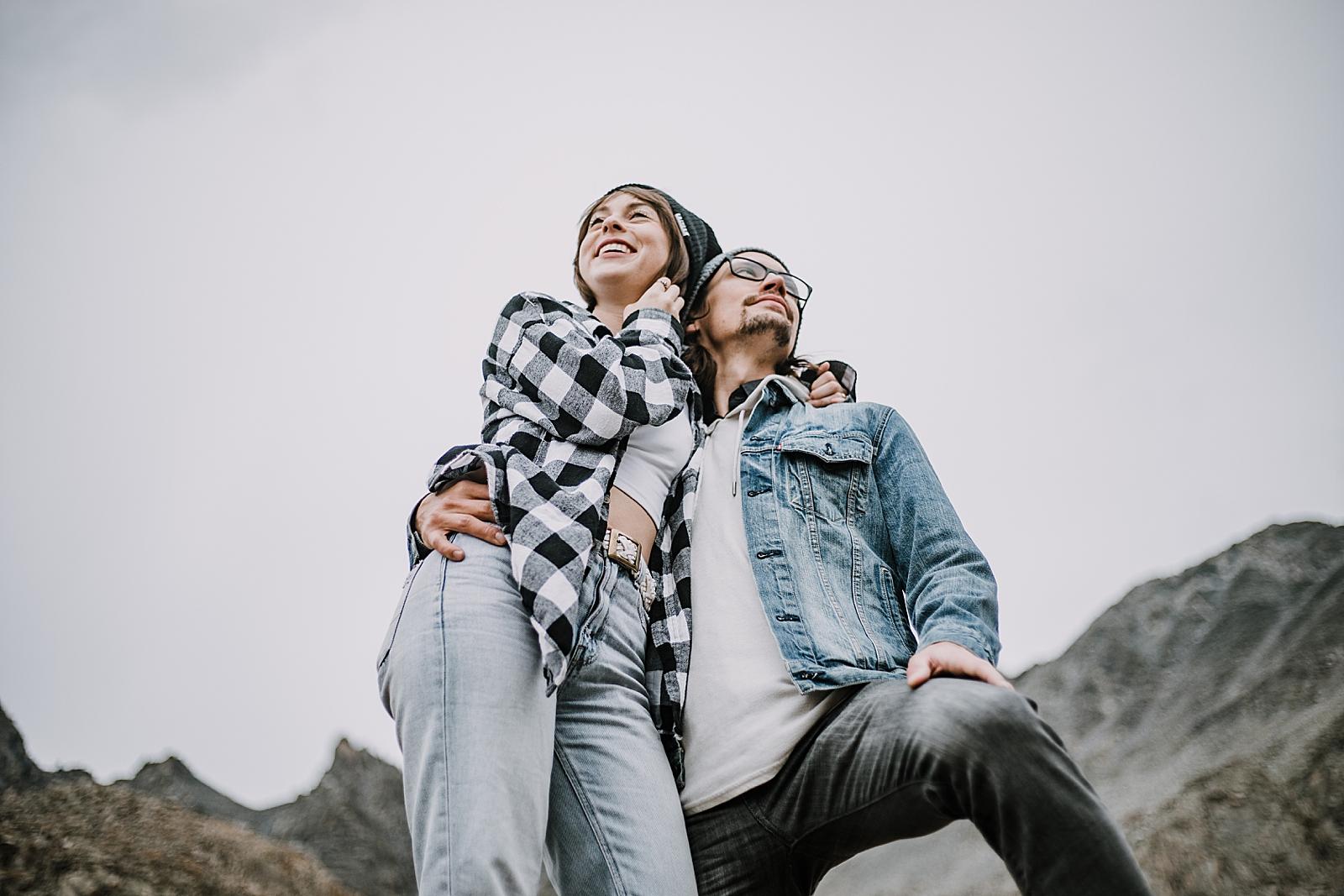 hipster couple, colorado surprise proposal, hike mayflower gulch, mayflower gulch proposal, mayflower gulch elopement, mayflower gulch wedding, colorado mountainscape, leadville elopement