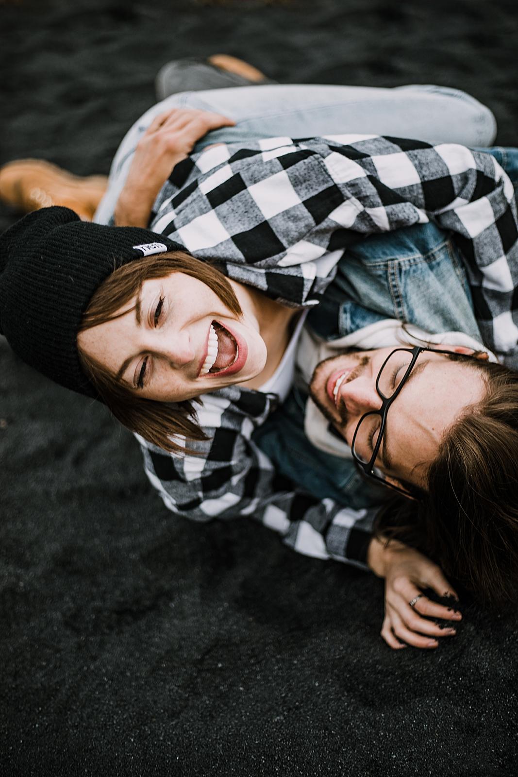 couple laughing, colorado surprise proposal, hike mayflower gulch, mayflower gulch proposal, mayflower gulch elopement, mayflower gulch wedding, colorado 14er, colorado fourteener, leadville elopement
