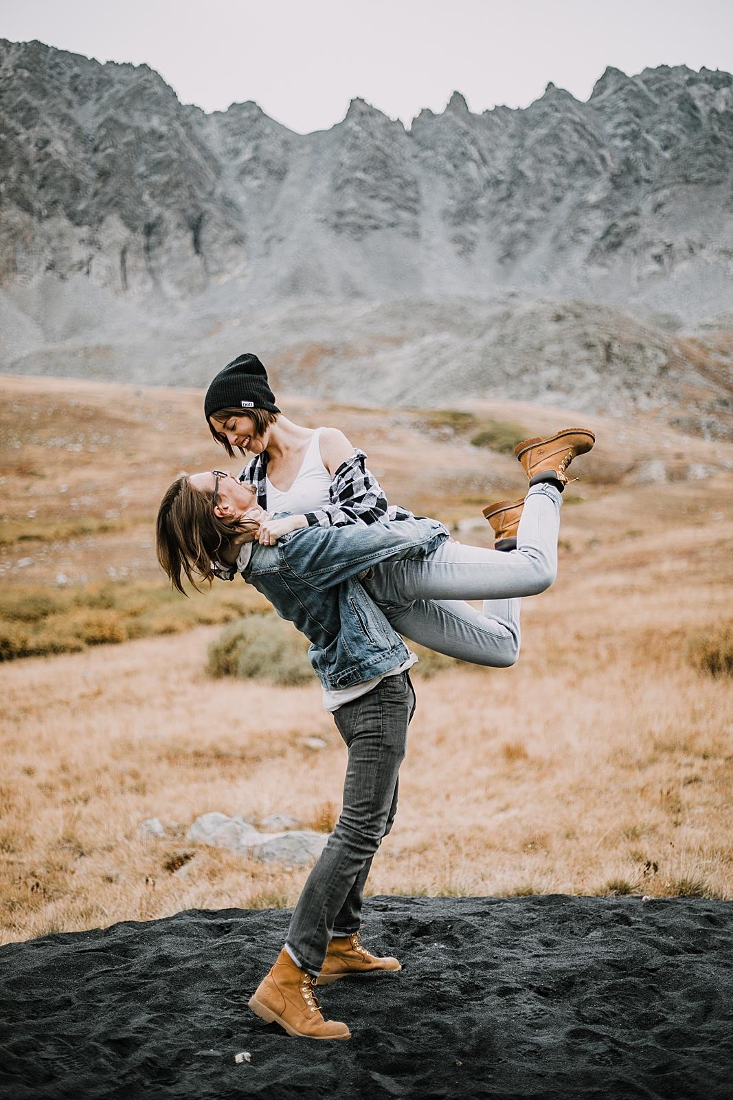 couple swing dancing, colorado surprise proposal, hike mayflower gulch, mayflower gulch proposal, mayflower gulch elopement, mayflower gulch wedding, colorado 14er, leadville elopement