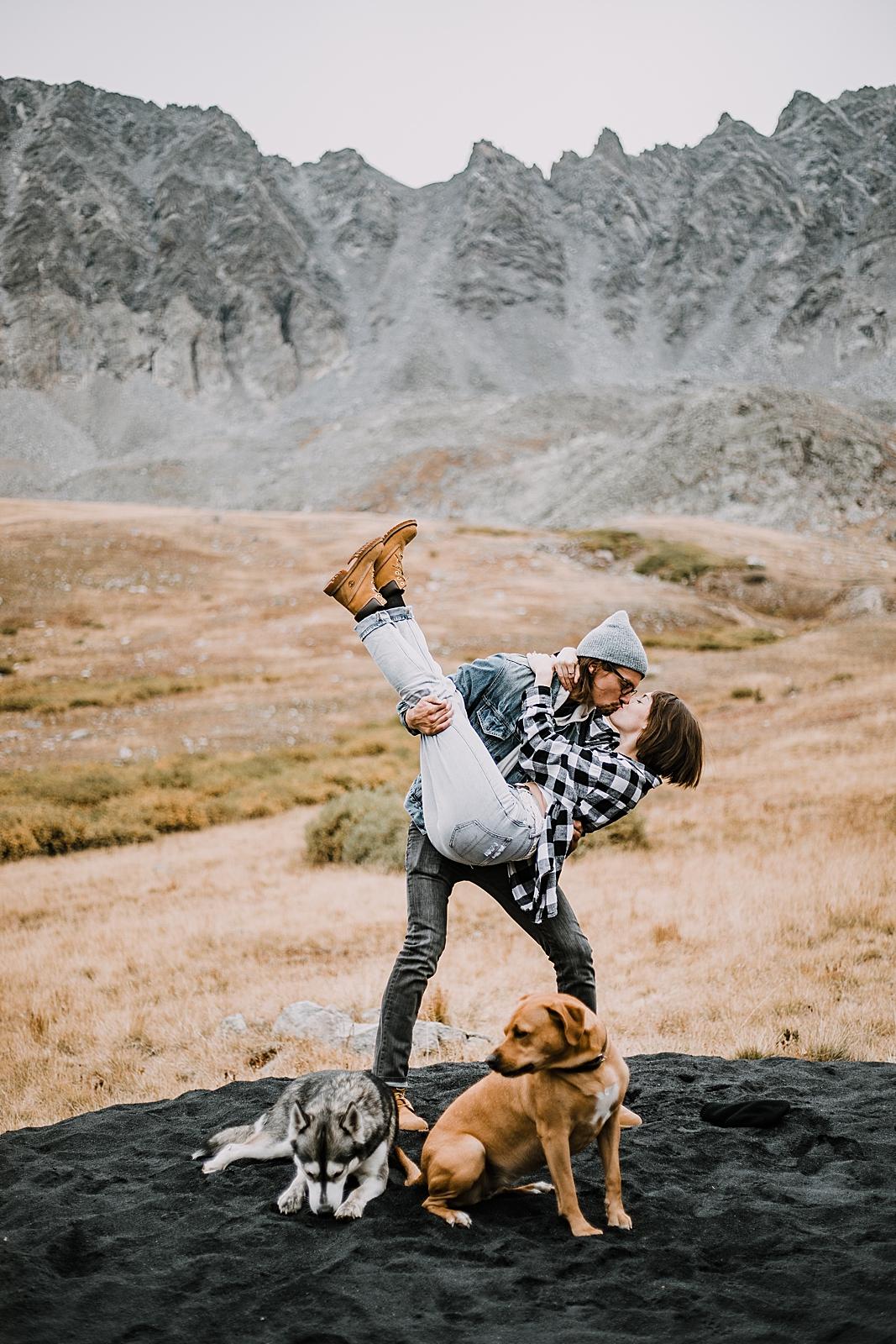 mountain pups, hiking dogs, hike mayflower gulch, mayflower gulch proposal, mayflower gulch elopement, mayflower gulch wedding, colorado 14er, colorado fourteener, leadville elopement