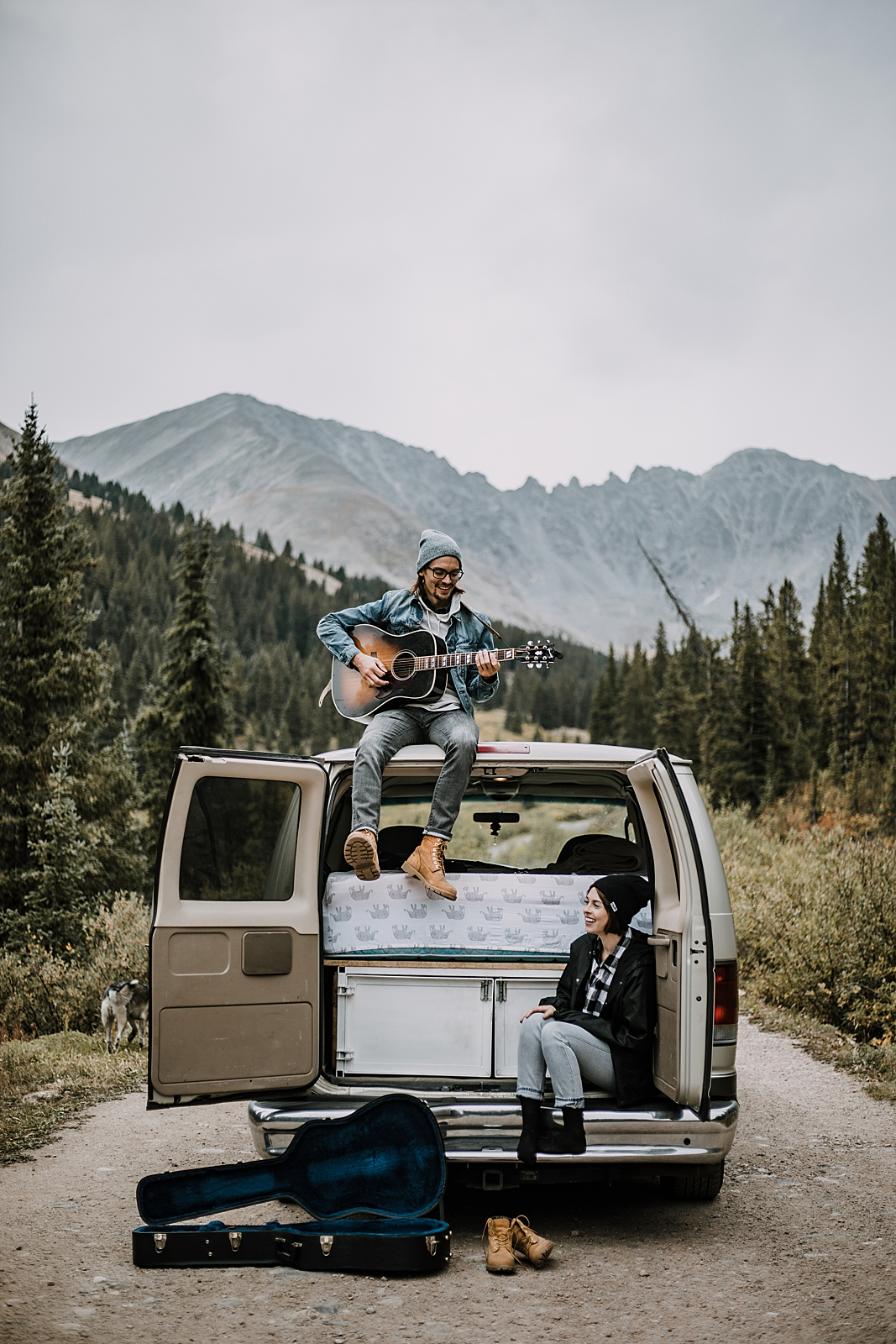 couple living out of a van, van life, home is where you park it, hiking mayflower gulch, mayflower gulch elopement, mayflower gulch wedding, colorado 14er, colorado fourteener, leadville elopement