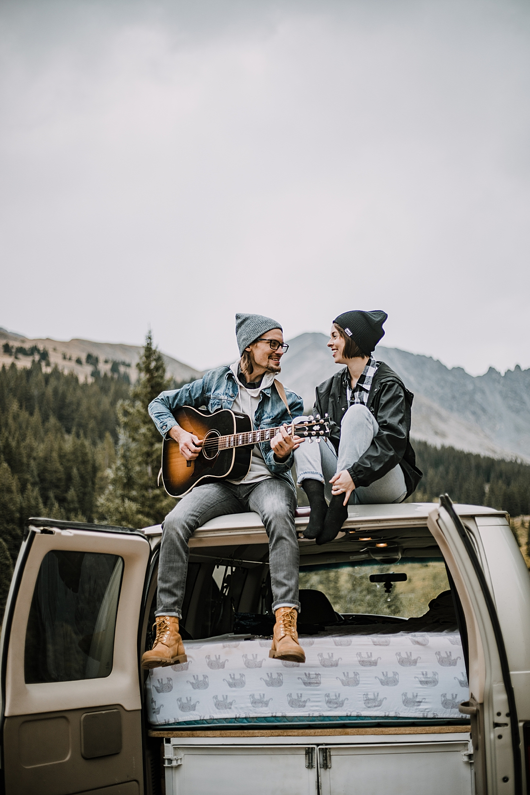 couple singing, couple living out of a van, van life with dogs, hiking mayflower gulch, mayflower gulch elopement, mayflower gulch wedding, colorado 14er, colorado fourteener, leadville elopement