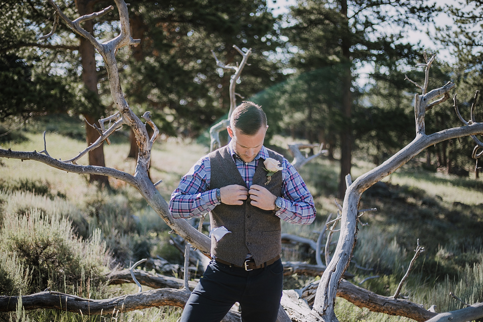 national park ranger groom, rocky mountain national park elopement, 3M curves elopement, self solemnizing, self solemnization, long's peak ceremony, hiking elopement, estes park elopement