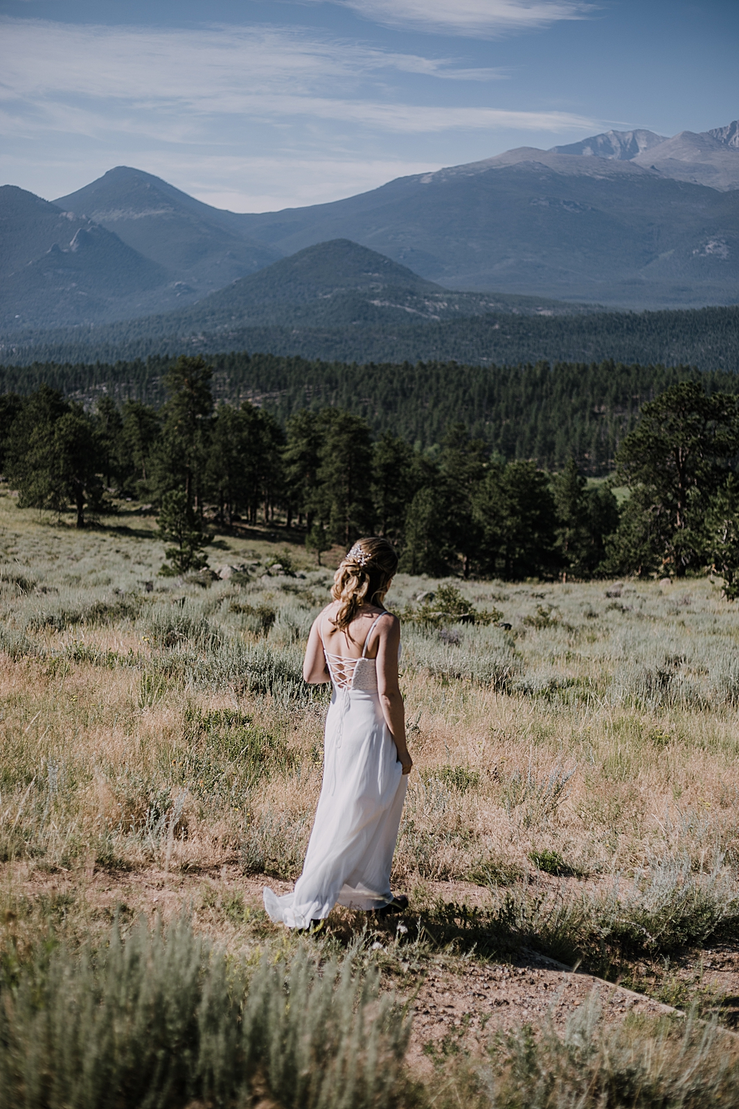 hiking bride, rocky mountain national park elopement, 3M curves elopement, self solemnizing, self solemnization, long's peak ceremony, hiking elopement, estes park elopement