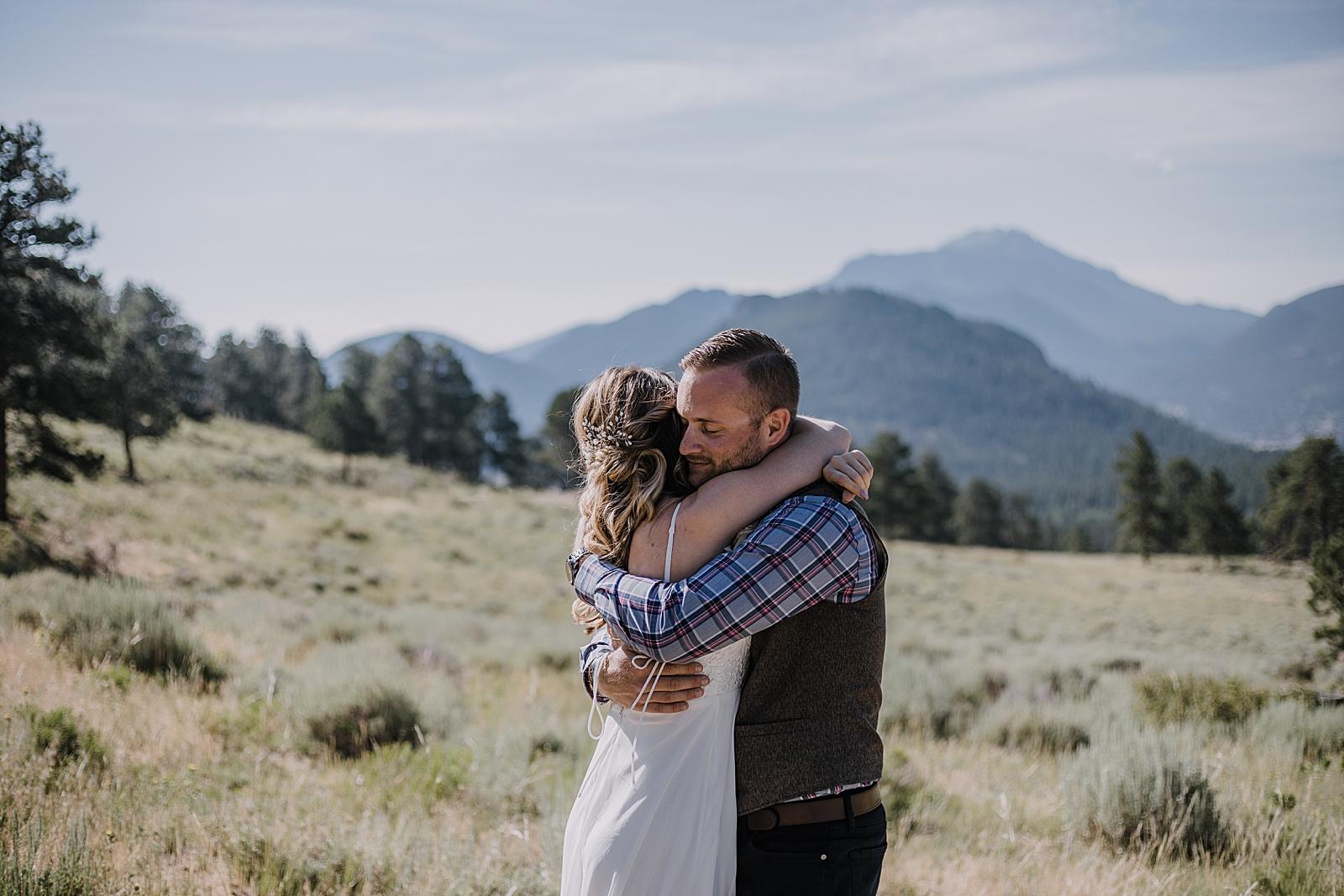 elopement couple first look, rocky mountain national park elopement, 3M curves elopement, self solemnizing, self solemnization, long's peak ceremony, hiking elopement, estes park elopement